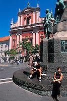 Presernov Trg, Preseren-Denkmal und Franziskanerirche. Ljubljana, Slowenien.