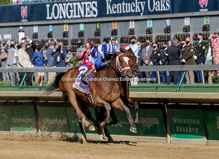 April 30, 2021 : Malathaat, #10, ridden by jockey John Velazquez, wins the 147th running of the Longines Kentucky Oaks on Kentucky Oaks Day at Churchill Downs on April 30, 2021 in Louisville, Kentucky. Candice Chavez/Eclipse Sportswire/CSM