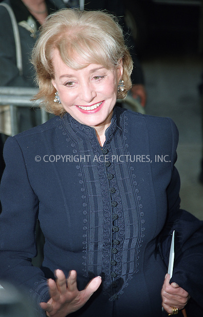 """Barbara Walters arriving at the New York premiere of """"Hollywood Ending."""" April 23, 2002. Please byline: Alecsey Boldeskul/NY Photo Press.   ..*PAY-PER-USE*      ....NY Photo Press:  ..phone (646) 267-6913;   ..e-mail: info@nyphotopress.com"""