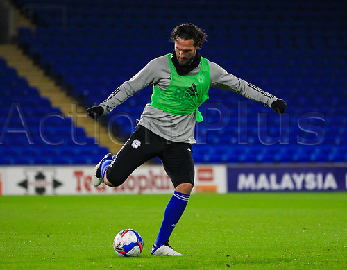 3rd November 2020; Cardiff City Stadium, Cardiff, Glamorgan, Wales; English Football League Championship Football, Cardiff City versus Barnsley; Sean Morrison of Cardiff City warms up before the match