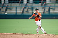 Baltimore Orioles Mason McCoy (58) fields a hopper during an Instructional League game against the Tampa Bay Rays on October 5, 2017 at Ed Smith Stadium in Sarasota, Florida.  (Mike Janes/Four Seam Images)