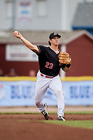 Batavia Muckdogs third baseman J.D. Osborne (23) throws to first base during a game against the Williamsport Crosscutters on June 22, 2018 at Dwyer Stadium in Batavia, New York.  Williamsport defeated Batavia 9-7.  (Mike Janes/Four Seam Images)