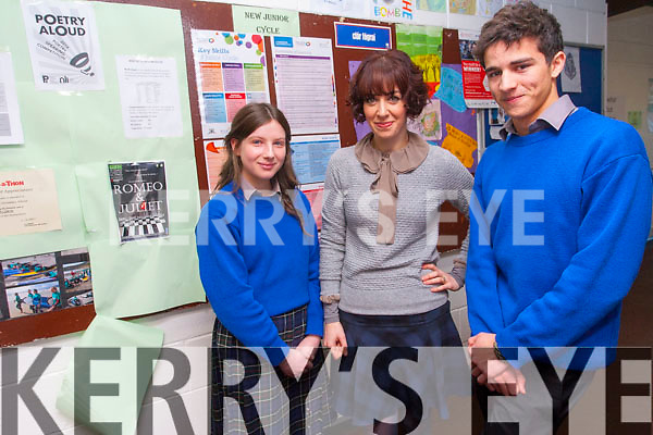 Students from Milltown Presentation Secondary School who were finalists in the Poetry Aloud competition. <br /> L-R Emily Cahill, teacher Victoria Kennefick and Ri Galway.