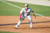 Hickory Crawdads first baseman Ronald Guzman (22) on defense against the Kannapolis Intimidators at CMC-Northeast Stadium on May 4, 2014 in Kannapolis, North Carolina.  The Intimidators defeated the Crawdads 3-1.  (Brian Westerholt/Four Seam Images)
