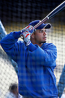 Aramis Ramirez of the Chicago Cubs during batting practice before a game from the 2007 season at Dodger Stadium in Los Angeles, California. (Larry Goren/Four Seam Images)