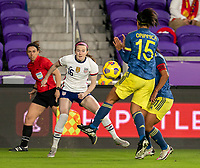 ORLANDO, FL - JANUARY 18: Rose Lavelle #16 of the USWNT crosses the ball during a game between Colombia and USWNT at Exploria Stadium on January 18, 2021 in Orlando, Florida.