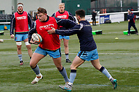 London Scottishq warm up during the Greene King IPA Championship match between Ealing Trailfinders and London Scottish Football Club at Castle Bar , West Ealing , England  on 19 January 2019. Photo by Carlton Myrie/PRiME Media Images