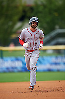 Syracuse Chiefs shortstop Jason Martinson (5) runs the bases after hitting a grand slam home run during a game against the Buffalo Bisons on July 31, 2016 at Coca-Cola Field in Buffalo, New York.  Buffalo defeated Syracuse 6-5.  (Mike Janes/Four Seam Images)