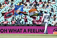 10th January 2021; Sydney Cricket Ground, Sydney, New South Wales, Australia; International Test Cricket, Third Test Day Four, Australia versus India; the Indian fans celebrate