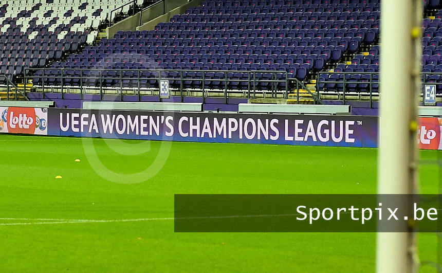 UEFA Women's Champions League banner pictured during a female soccer game between RSC Anderlecht Dames and Northern Irish Linfield Ladies  in the first qualifying round for the Uefa Womens Champions League of the 2020 - 2021 season , Wednesday 4 th of November 2020  in ANDERLECHT , Belgium . PHOTO SPORTPIX.BE | SPP | DAVID CATRY