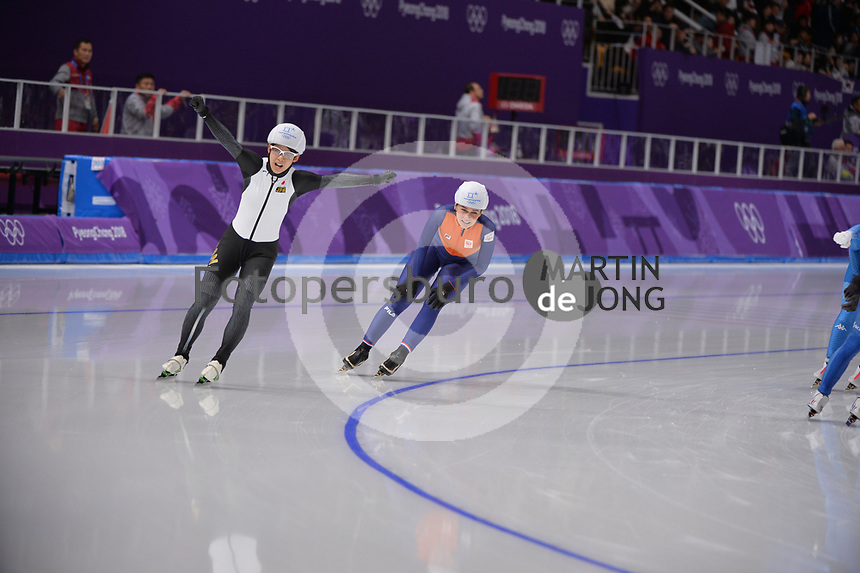 OLYMPIC GAMES: PYEONGCHANG: 24-02-2018, Gangneung Oval, Long Track, Mass Start Ladies, Nana Takagi (JPN), Irene Schouten (NED), ©photo Martin de Jong