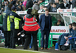 Hibs v St Johnstone…18.11.17…  Easter Road…  SPFL<br />Saints manager Tommy Wright under the spotlight<br />Picture by Graeme Hart. <br />Copyright Perthshire Picture Agency<br />Tel: 01738 623350  Mobile: 07990 594431