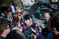 last years winner Philippe Gilbert (BEL/BMC) heavily solicitated by the press after the race<br /> <br /> 50th Amstel Gold Race 2015