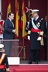 King Felipe VI of Spain (R) and Mariano Rajoy during Spanish National Day military parade in Madrid, Spain. October 12, 2015. (ALTERPHOTOS/Victor Blanco)