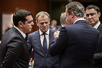Pictured L-R: Greek Prime Minister Alexis Tsipras, Donald Tusk and British Prime Minister David Cameron Thursday 18 February 2016<br /> Re: David Cameron looks set to secure European Union deal on Britain's reforms during a summit in Brussels, Belgium.