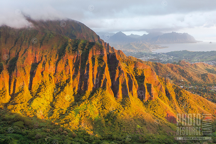 """An aerial view of the Ko'olau mountain range at dawn from the Haiku Stairs (""""Stairway to Heaven"""") hiking trail in Kaneohe, O'ahu"""