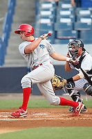 Clearwater Threshers Kyle Lafrenz #30 at bat during a game against the Tampa Yankees at Steinbrenner Field on June 22, 2011 in Tampa, Florida.  The game was suspended due to rain in the 10th inning with a score of 2-2; catcher is Mitch Abeita.  (Mike Janes/Four Seam Images)