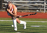 CHESHIRE CT. - 09 November 2020-110920SV03-#34 Emily Curtis of Cheshire High makes a shot toward the goal against Branford during the semifinals of SCC field hockey tournament in Cheshire Monday.<br /> Steven Valenti Republican-American