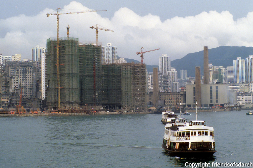 Hong Kong: High rises under construction with bamboo scaffolding. Photo '81.