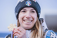 Alpine World Ski Championships, Parallel Event, Ladies, Award Ceremony, in the picture Gold medal winner and world champion Marta Bassino ITA during the winner ceremony of Ladies Parallel Event of FIS Alpine World Ski Championships 2021 in Cortina, Italy on 2021 02 16 Cortina Italy <br /> Photo imago images/Sammy Minkoff/Insidefoto
