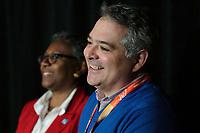 Régine St-Laurent, Fédération des Infirmieres du Québec et Sylvain Malette, Fédération des Enseignants du Québec<br /> <br /> Manifestation FIQ - FAE, 27 janvier 2015<br /> <br /> PHOTO : Agence Quebec Presse