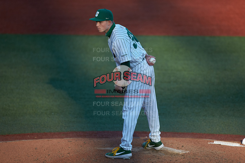 Charlotte 49ers relief pitcher Jackson Boss (38) looks to his catcher for the sign against the Florida Atlantic Owls at Hayes Stadium on April 2, 2021 in Charlotte, North Carolina. The 49ers defeated the Owls 9-5. (Brian Westerholt/Four Seam Images)