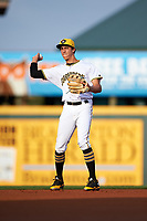 Bradenton Marauders shortstop Cole Tucker (3) throws to first base during a game against the Clearwater Threshers on April 18, 2017 at LECOM Park in Bradenton, Florida.  Clearwater defeated Bradenton 4-2.  (Mike Janes/Four Seam Images)