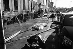 BROOKLYN- FEBRUARY 24, 2006:  A body of a person who jumped out of a window is covered by a sheet on the sidewalk at the scene of a fatal fire on Pacific Street and Grand Avenue on February 24, 2006 in Brooklyn.  (PHOTOGRAPH BY MICHAEL NAGLE)