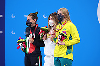 26th August 2021; Tokyo, Japan; Silver medalist GILLI Carlotta (ITA), gold medalist PERGOLINI Gia (USA), and bronze medalist DEDEKIND Katja (AUS) celebrate on the podium for the Swimming : Women's 100m Backstroke - S13 Final - Medal Ceremony on August 26, 2021 during the Tokyo 2020 Paralympic Games at the Tokyo Aquatics Centre in Tokyo, Japan.