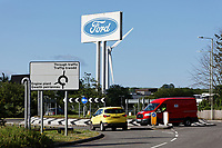 Pictured: Ford cars drive outside of the Ford engine plant in Bridgend, Wales, UK. Thursday 06 June 2019<br /> Re: An announcement on the proposed closure of Ford's Bridgend plant will be made today (Thursday).<br /> Ford Europe and bosses from the United States will meet union leaders at its Essex headquarters.<br /> The plant employs 1,700 workers from across south Wales.