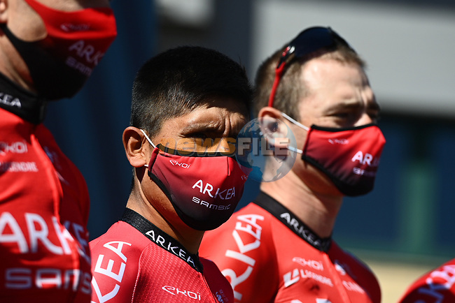 Nairo Quintana (COL) and Team Arkea-Samsic at sign on before the start of Stage 6 of Tirreno-Adriatico Eolo 2021, running 169km from Castelraimondo to Lido di Fermo, Italy. 15th March 2021. <br /> Photo: LaPresse/Marco Alpozzi | Cyclefile<br /> <br /> All photos usage must carry mandatory copyright credit (© Cyclefile | LaPresse/Marco Alpozzi)