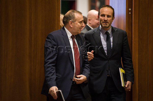 Grzegorz Schetyna, Polish Foreign Minister (L) and Denmark's Foreign Affairs Minister Martin Lidegaard arrive prior to the European Union Foreign Ministers Council at EU headquarters  in Brussels, Belgium on 29.01.2015 Federica Mogherini , EU High representative for foreign policy called extraordinary meeting on the situation in Ukraine after the attack on Marioupol.  by Wiktor Dabkowski