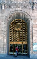 San Francisco:  Shell Building--Entrance. 100 Bush St., 1930.   Photo '89.