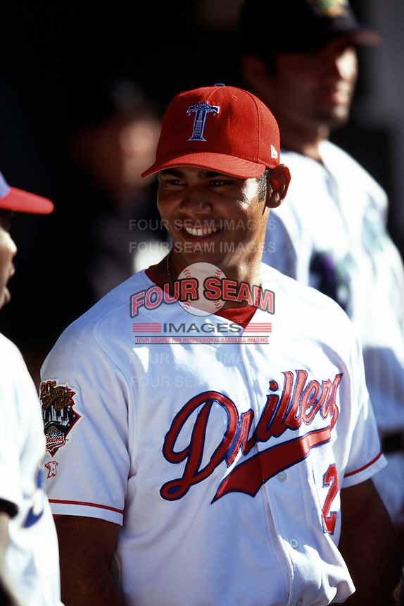Tulsa Drillers first baseman Carlos Pena during the AA All Star Game at Prince George's Stadium in Bowie, Maryland in July of 2000.  (Ken Babbitt/Four Seam Images)