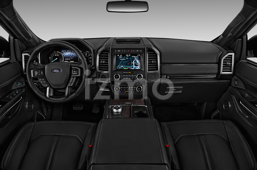 Stock photo of straight dashboard view of a 2019 Ford Expedition XLT MAX 4x2 5 Door SUV