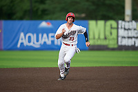 Auburn Doubledays Andrew Pratt (33) running the bases during a NY-Penn League game against the Connecticut Tigers on July 12, 2019 at Falcon Park in Auburn, New York.  Auburn defeated Connecticut 7-5.  (Mike Janes/Four Seam Images)