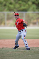 Washington Nationals Jake Noll (13) throws during practice before a minor league Spring Training game against the St. Louis Cardinals on March 27, 2017 at the Roger Dean Stadium Complex in Jupiter, Florida.  (Mike Janes/Four Seam Images)