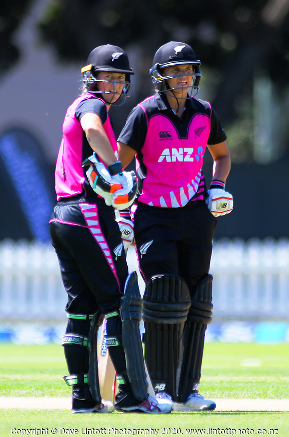 NZ's Sophie Devine and Susie Bates during the International Women's Twenty20 Cricket match between the New Zealand White Ferns and South Africa Proteas at Basin Reserve in Wellington, New Zealand on Monday, 10 February 2020. Photo: Dave Lintott / lintottphoto.co.nz