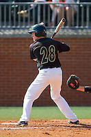 Patric King (28) of the Charlotte 49ers at bat against the Canisius Golden Griffins at Hayes Stadium on February 23, 2014 in Charlotte, North Carolina.  The Golden Griffins defeated the 49ers 10-1.  (Brian Westerholt/Four Seam Images)