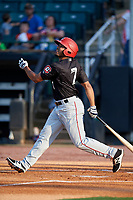 Chattanooga Lookouts left fielder LaMonte Wade (7) follows through on a swing during a game against the Jackson Generals on April 29, 2017 at The Ballpark at Jackson in Jackson, Tennessee.  Jackson defeated Chattanooga 7-4.  (Mike Janes/Four Seam Images)
