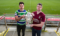 Monday 11th November 2019<br /> <br /> Pictured L-R are Grosvenor RFC Captain Andrew Kell and Enniskillen RFC Captain Gareth Beatty at the draw for the Semi-Final of this seasons MMW Legal Ulster Junior Cup which was held at Kingspan Stadium, Ravenhill Park, Belfast, Northern Ireland. Photo credit - John Dickson DICKSONDIGITAL