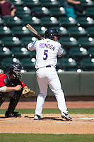 Cleuluis Rondon (5) of the Winston-Salem Dash at bat against the Carolina Mudcats at BB&T Ballpark on April 22, 2015 in Winston-Salem, North Carolina.  The Dash defeated the Mudcats 4-2..  (Brian Westerholt/Four Seam Images)