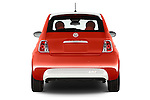 Straight rear view of a 2014 Fiat 500e Hatchback 3 Door Hatchback Rear View  stock images