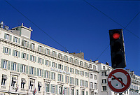 Hotel and set of traffic lights seen from the Vieux-Port, Marseille, France.