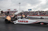 Apr 12, 2019; Baytown, TX, USA; NHRA top fuel driver Steve Torrence (near) races alongside Leah Pritchett during qualifying for the Springnationals at Houston Raceway Park. Mandatory Credit: Mark J. Rebilas-USA TODAY Sports