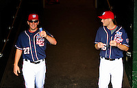 4 July 2009: Washington Nationals starting pitchers Jordan Zimmermann (left) and Ross Detwiler (right) emerge from the clubhouse prior to a game against the Atlanta Braves at Nationals Park in Washington, DC. The Nationals rallied with 4 runs in the 8th inning to defeat the Braves 5-3 and take the second game tying the 3-game weekend series. Mandatory Credit: Ed Wolfstein Photo