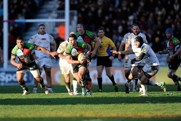 Ben Botica of Harlequins leads the attack during the Aviva Premiership match between Harlequins and Newcastle Falcons at the Twickenham Stoop on Saturday 15th February 2014 (Photo by Rob Munro)
