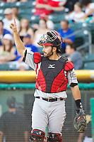 Matt Pagnozzi (10) of the Nashville Sounds during the game against the Salt Lake Bees in Pacific Coast League action at Smith's Ballpark on June 23, 2014 in Salt Lake City, Utah.  (Stephen Smith/Four Seam Images)