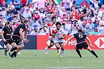 Katsuyuki Sakai of Japan (C) runs with the ball during the HSBC World Rugby Sevens Series Qualifier Final match between Germany and Japan as part of the HSBC Hong Kong Sevens 2018 on 08 April 2018 in Hong Kong, Hong Kong. Photo by Marcio Rodrigo Machado / Power Sport Images