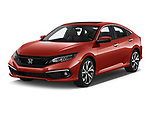 2019 Honda Civic Touring 4 Door Sedan angular front stock photos of front three quarter view